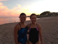 Open water swimming on the beach