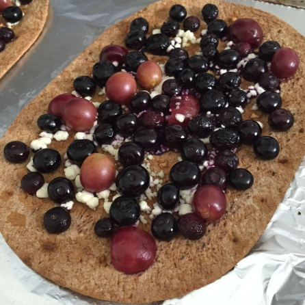Homemade pizza with goat cheese and fresh summer fruit!
