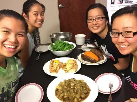 Team healthyU during a summer meal